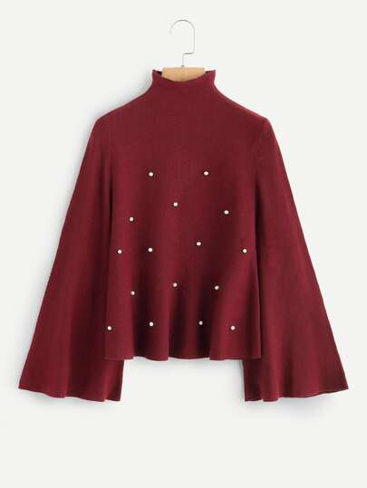 High Neck Pearl Beaded Sweater