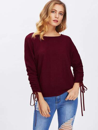 Drawstring Sleeve Ribbed Sweater