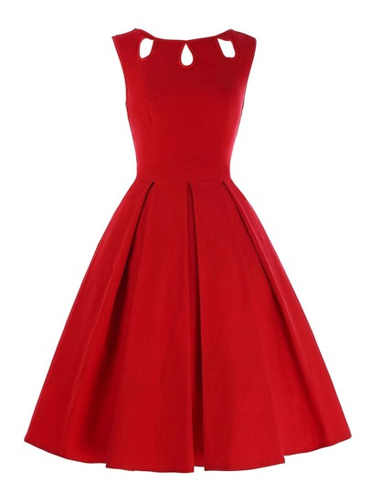 Keyhole Cut Out Circle Dress