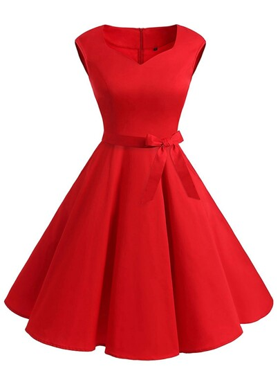 V Neckline Flare Dress With Belt