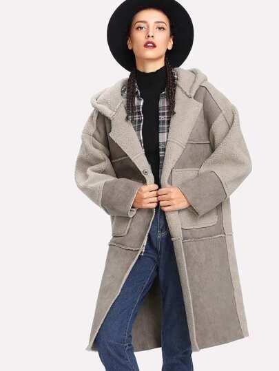 Faux Shearling Drop Shoulder Hooded Coat