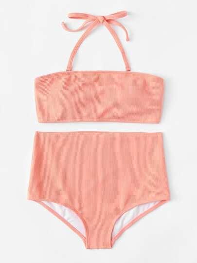 Ribbed High Waist Bikini Set