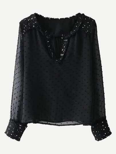 Blouse texturée découpée en tweed