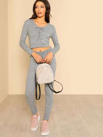 Lace Up Hooded Crop & Matching Pant Set GREY