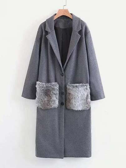 Faux Fur Pocket Longline Coat