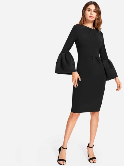 Pleat Detail Bell Sleeve Skinny Dress
