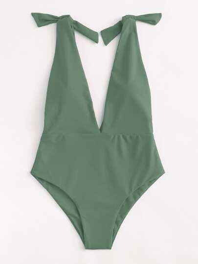 Deep V Plunge Knot Swimsuit