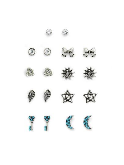 Set de pendientes de tachuela con diseño de lazo y hoja y luna