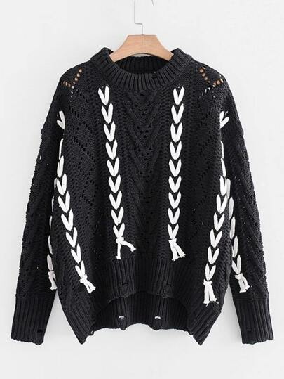 Contrast Lace Up Ripped Detail Pointelle Sweater