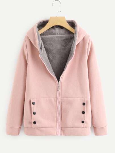 Faux Fur Lined Hoodie Jacket