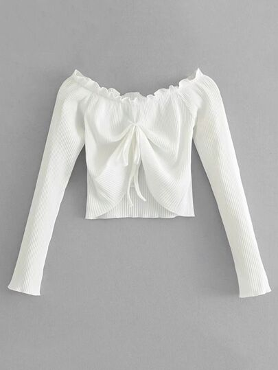 Tied Front Ribbed Crop Top