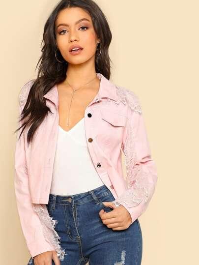 Lace Trim Button Up Jacket