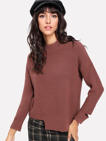 Asymmetrical Hem Cut Out Sweater