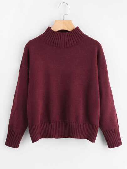 Mock Neck Drop Shoulder Jumper