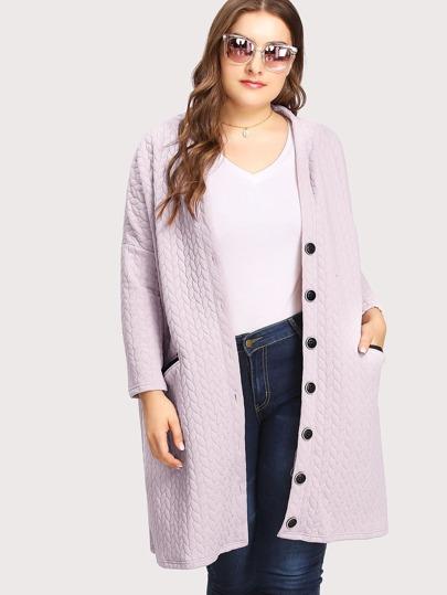 Textured Drop Shoulder Coat