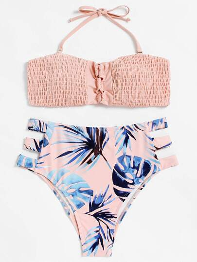 Set de bikini fruncido con abertura