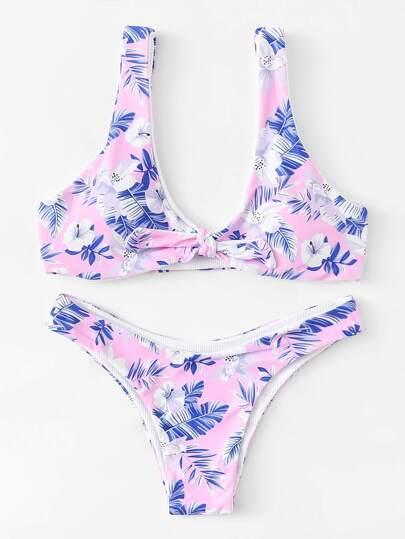 Set de bikini con nudo con estampado floral