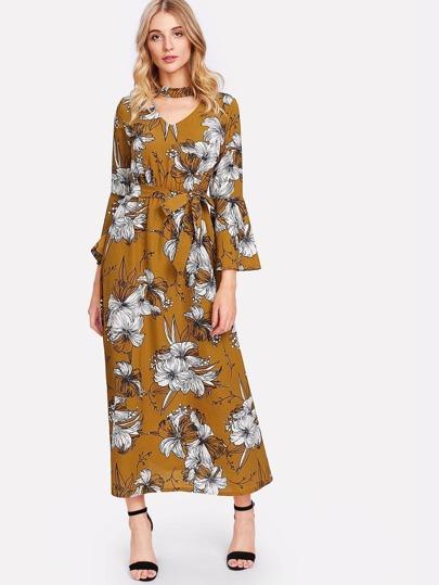 Cut Out Neck Floral Print Self Tie Waist Dress