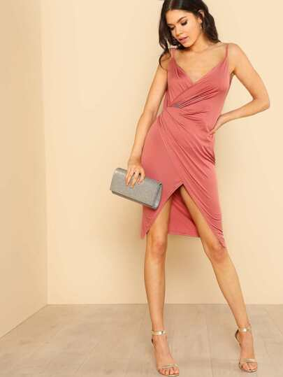 Low Back Wrap Cami Dress