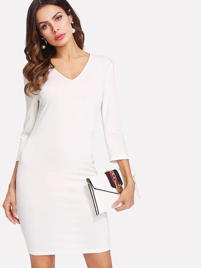 Split Back Form Fitting Dress
