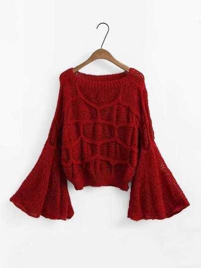 Bell Sleeve Textured Sweater