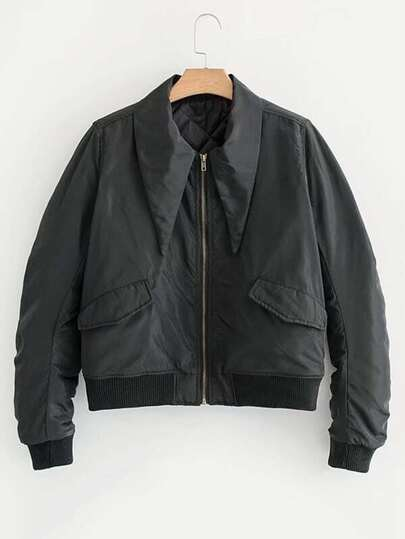 Point Collar Ruched Sleeve Bomber Jacket