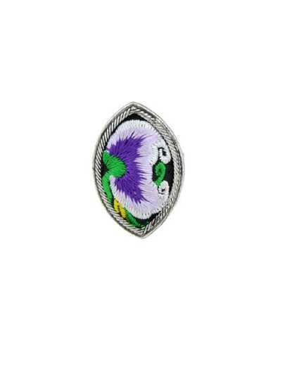 Purple Handmade Flower Pattern Embroidery Geometric Rings