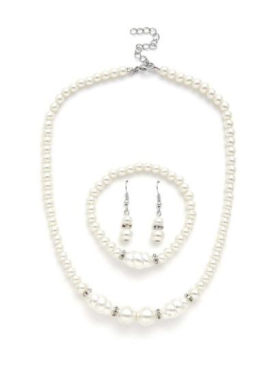 Faux Pearl Design Necklace & Earring & Bracelet Set