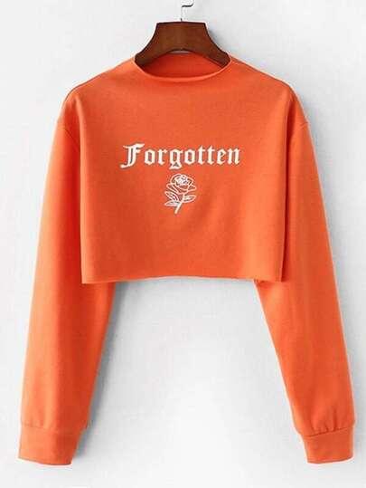 Rose Print Crop Sweatshirt