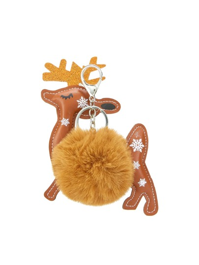 Christmas Deer Keychain With Pom Pom