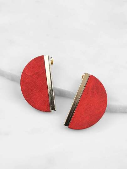 Half Circle Gold Hardware Earrings RED