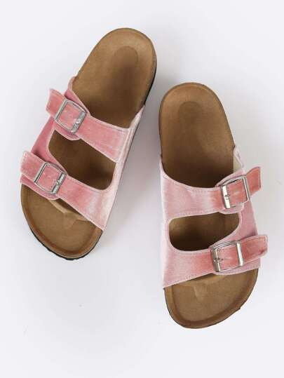 Velvet Double Buckle Footbed Sandals PINK