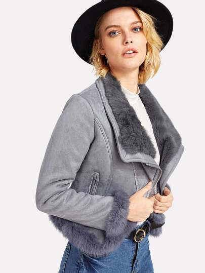 Contrast Faux Fur Suede Biker Jacket