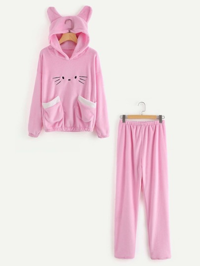 Cat Hooded Embroidered Top & Pants PJ Set