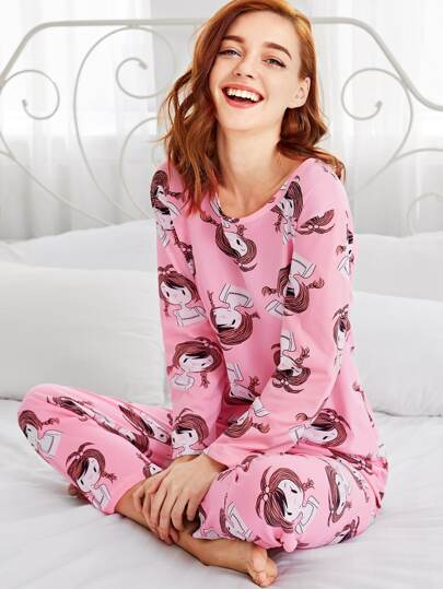 Ensemble de pyjama tee-shirt imprimé de fille de l'animation & pantalons