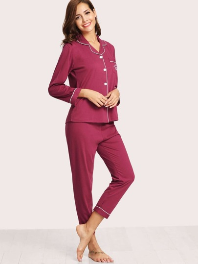 Embroidered Detail Long Pajama Set