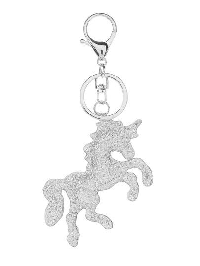 Glitter Horse Design Keychain