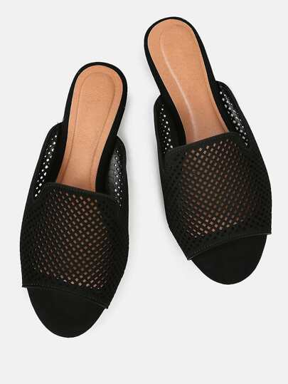 Perforated Slip On Sandals BLACK