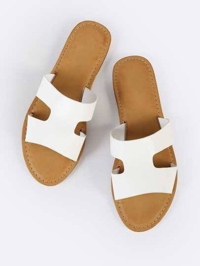 H Cutout Open Toe Slide Sandals WHITE