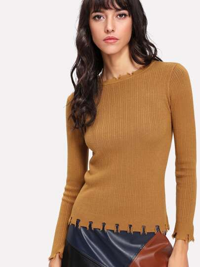 Frayed Trim Fitted Jumper