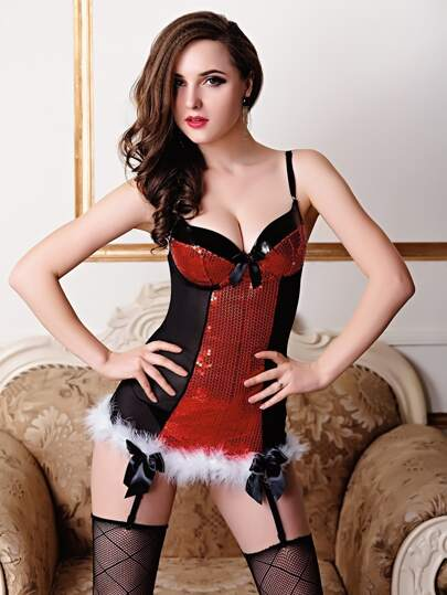 Faux Fur Trim Sequin Garter Corset Set