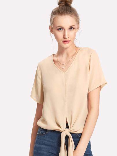 Tee-shirt col en V avec nœud