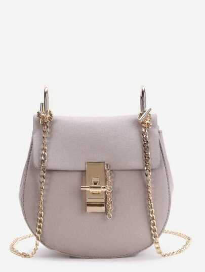 Pink Flap Saddle PU Bag With Chain