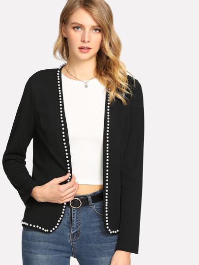 Pearl Beading Tailered Blazer
