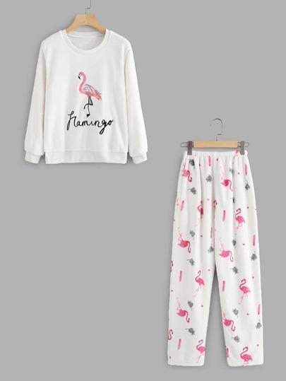 Flamingo Print Pullover Pajama Set