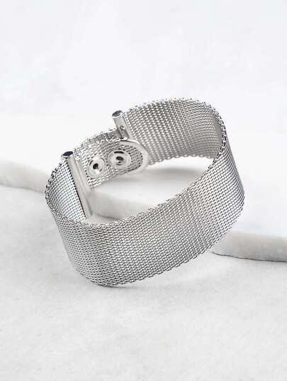 Thick Band Metallic Bracelet SILVER