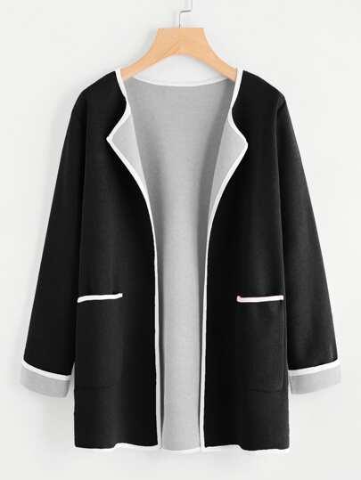 Manteau avec poche bicolore