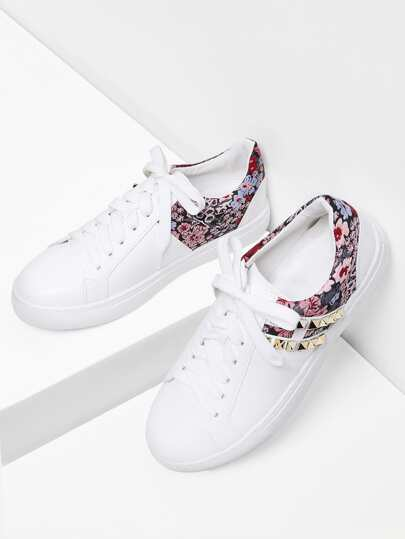 Calico Pattern PU Sneakers With Studded