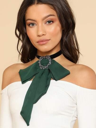 Front Rhinestone Chiffon Bow Choker Necklace GREEN