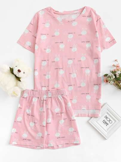 Rabbit Print Short Pajama Set